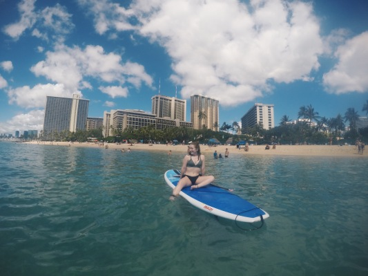 Paddleboarding on Waikiki Beach